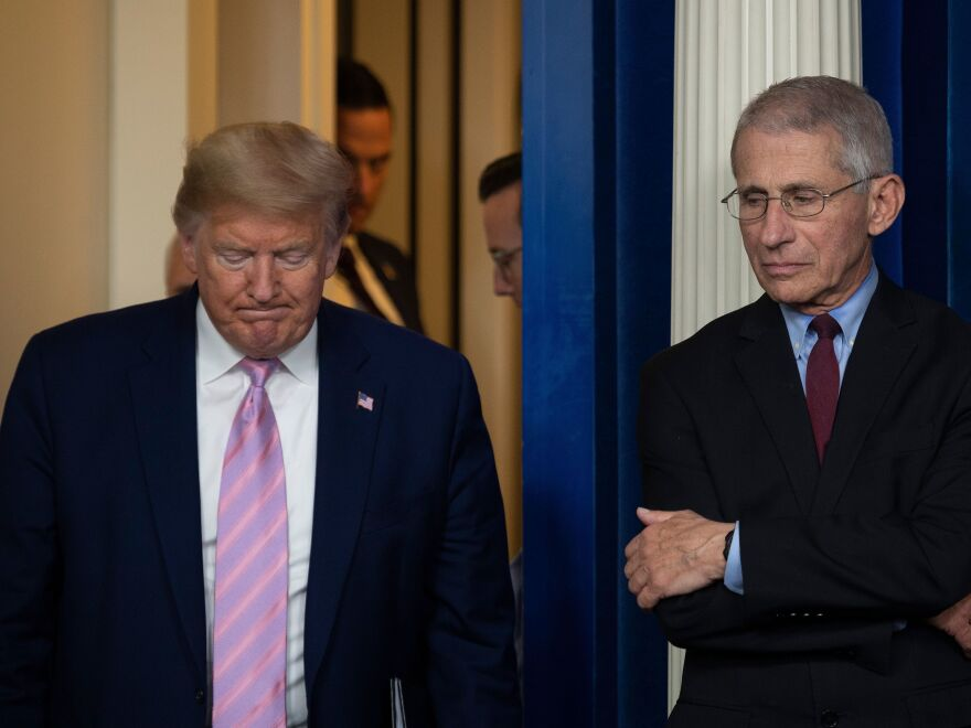 President Trump arrives as Dr. Anthony Fauci looks on during a coronavirus task force news briefing at the White House on April 4.