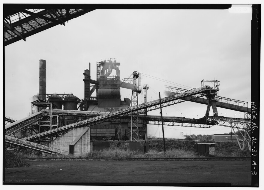 A blast furnace in production at Fairfield Works in Fairfield, Ala., in this undated photo.