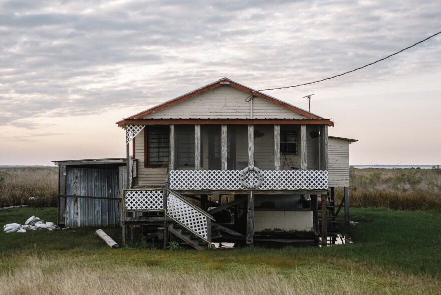 Raised fishing cabins and vacation homes in the tiny village of Cocodrie, the last stop along Bayou Petit Caillou before the Gulf of Mexico.