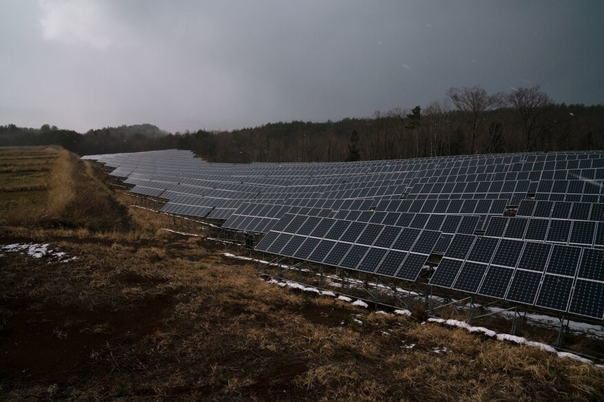 A solar farm is set up in Aizuwakamatsu, a city in Fukushima Prefecture, which has embraced the post-disaster call for renewable energy. Individuals jumped in to build smaller, local operations, while corporations rushed to build massive solar and wind farms.