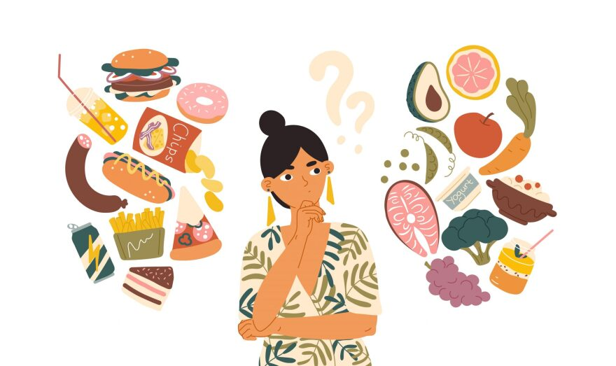 An illustration of a woman with question marks over her head as a variety of foodstuffs, from pizza and hamburgers to vegetables and fruit and fish, surround her.