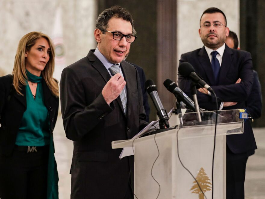 Nizar Zakka (center), a Lebanese national and U.S. resident arrested in Iran in 2015 and sentenced to 10 years in jail on espionage charges, gives a press conference in Beirut after he was freed in early June.