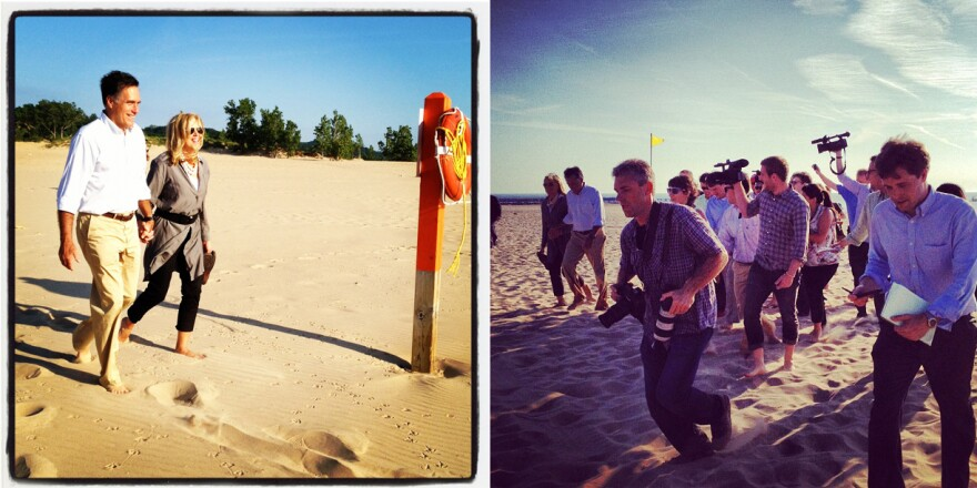 Reporter Ashley Parker transmitted these two different views of the campaign trail via Instagram. In the photo on the left, Mitt and Ann Romney stroll on the beach. On the right, the media pool chases after them.