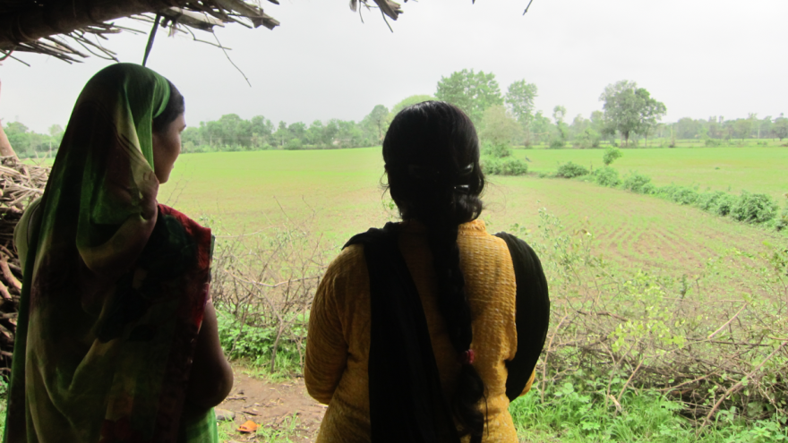 Patient and counselor: In a village near Bhopal, India, a woman with depression (left) meets with her counselor. The counselor, who lives nearby and speaks the same dialect, has received three weeks of intensive training. The patient says the counselor changed her life for the better.