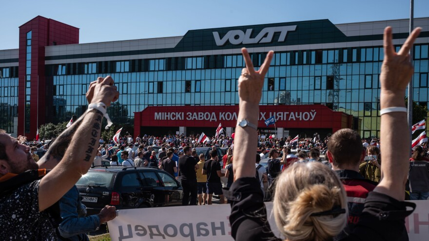 Striking workers participate in anti-government protests on Monday in Minsk, Belarus.