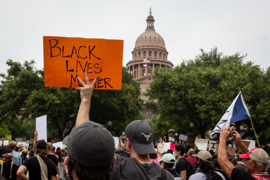 People gathered at the Capitol on Sunday to protest police killings of unarmed black people.