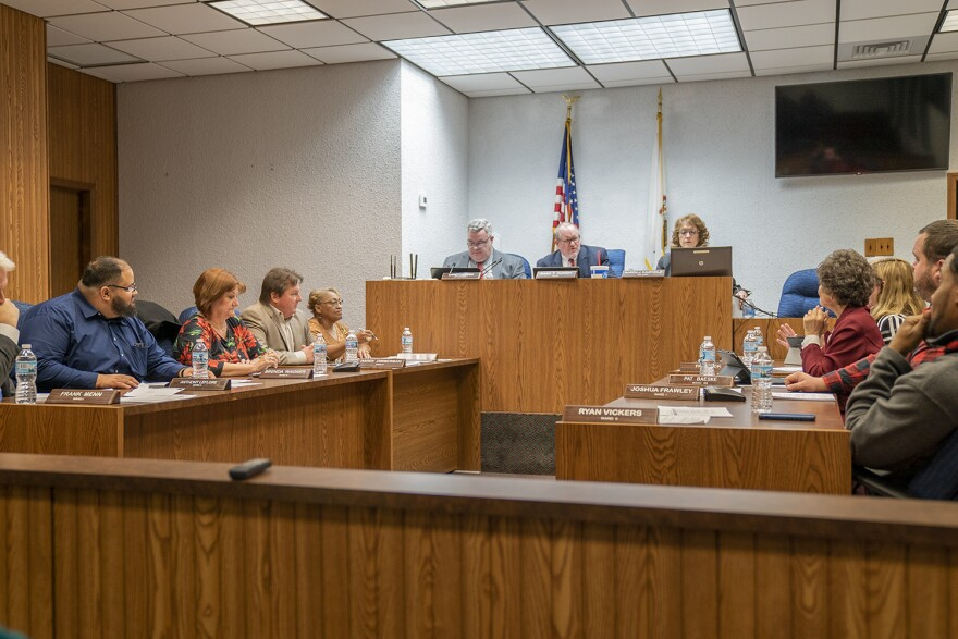 Fairview Heights Mayor Mark Kupsky addresses the council on Dec. 17, before they vote to allow cannabis sales in the community. The council voted 7-3 to allow cannabis related businesses to open in the community.