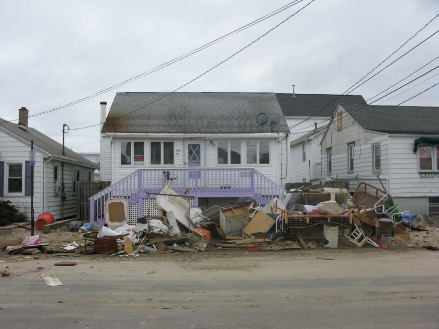 A damaged home in Seaside Heights, N.J.