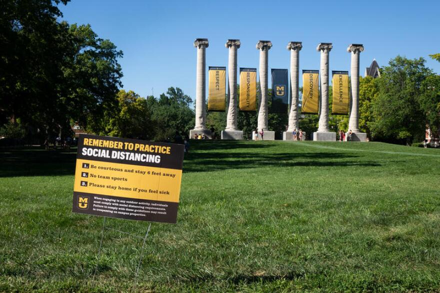 A sign on the University of Missouri campus reminds students to practice social distancing. 09/24/20