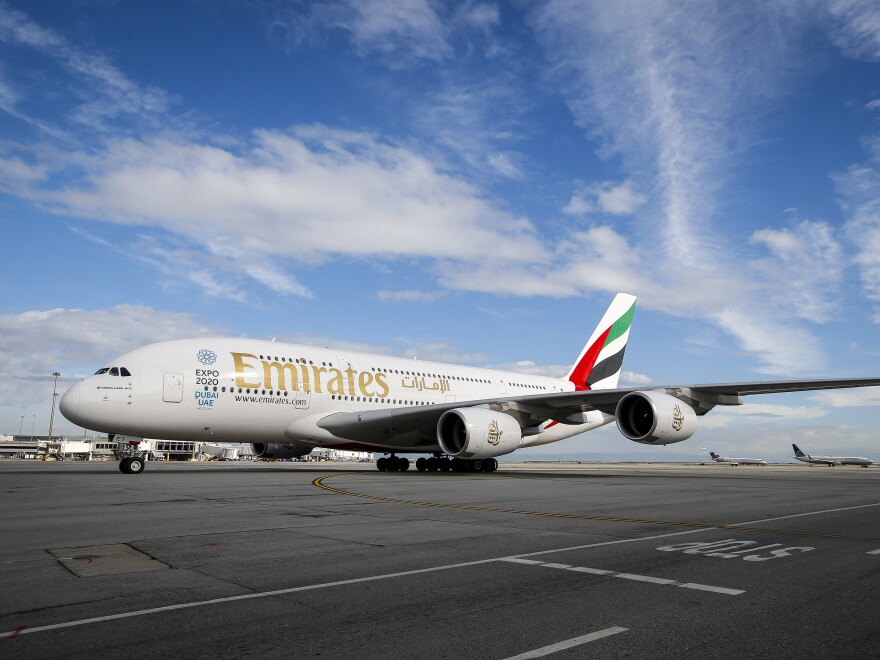 Emirates' inaugural A380 flight to San Francisco International Airport approaches the gate in 2014. Airbus announced Thursday it is stopping production of the A380 in 2021 after Emirates canceled dozens of orders.