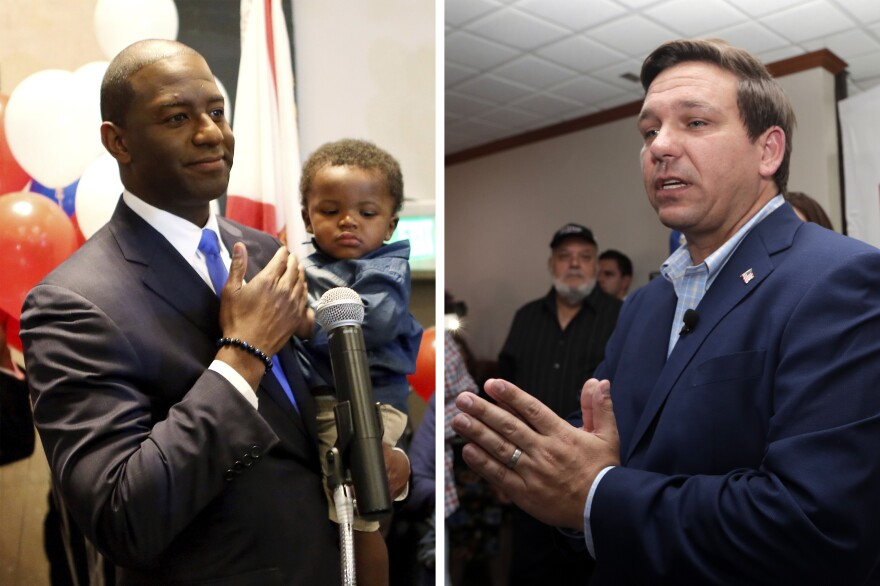 Democrat Andrew Gillum's surprise victory in the Florida gubernatorial primary sets up a race between a young, black progressive and Rep. Ron DeSantis, a Republican who has staked his political career on his ties to President Trump.