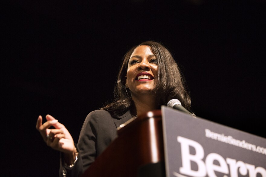 St. Louis Treasurer Tishaura Jones speaks at a rally in support of Bernie Sanders on Monday afternoon. (March 9, 2020)