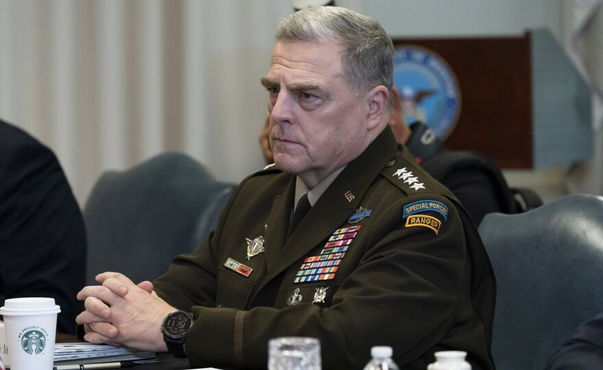 Army Gen. Mark Milley, the chairman of the Joint Chiefs of Staff, is among several top military officials who are quarantining at home. They attended meetings last week with Adm. Charles Ray, the vice commandant of the Coast Guard, who has tested positive for COVID-19.