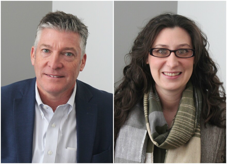 Jeff Clements (left) and Alderwoman Megan Green (right) discussed a nation-wide campaign thats calls for a 28th amendment to limit campaign contributions.