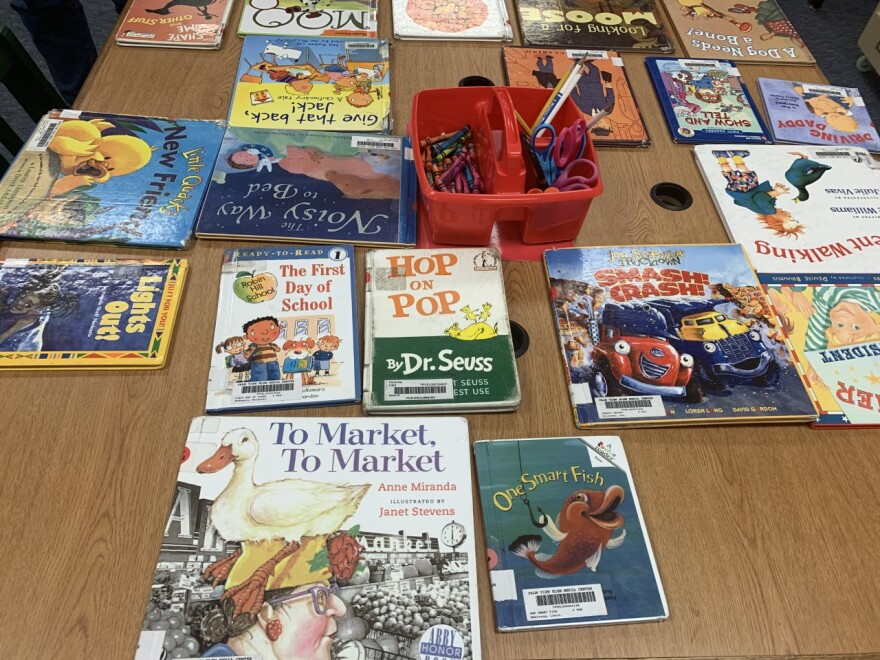 kids books on a table