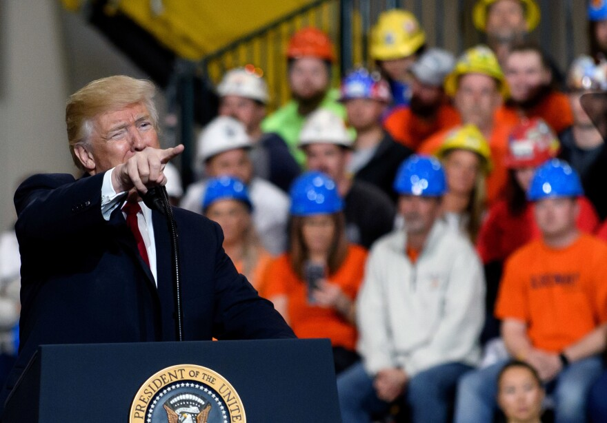 President Trump boasted about economic gains under his presidency on Thursday, during a rally at a facility of the Operating Engineers Apprentice and Training, in Richfield, Ohio.