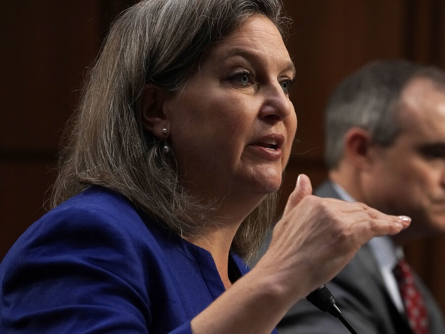 Former Assistant Secretary of State for European and Eurasian Affairs Victoria Nuland testifies before the Senate Intelligence Committee on Wednesday about the policy response to Russian interference in the 2016 election and spoke of what other countries may be doing to emulate Russia's tactics.