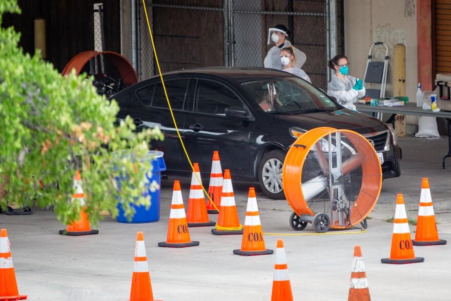 Austin Public Health operates a drive-thru COVID-19 testing site off I-35 in North Austin.