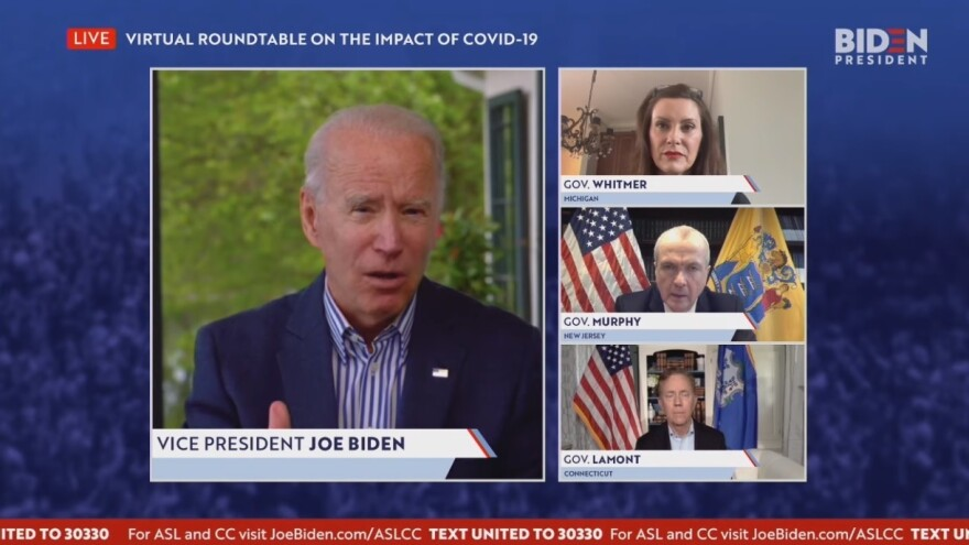 Former Vice President Joe Biden speaks on May 14 with Democratic Govs. Gretchen Whitmer of Michigan, Phil Murphy of New Jersey and Ned Lamont of Connecticut about the response to the COVID-19 pandemic.