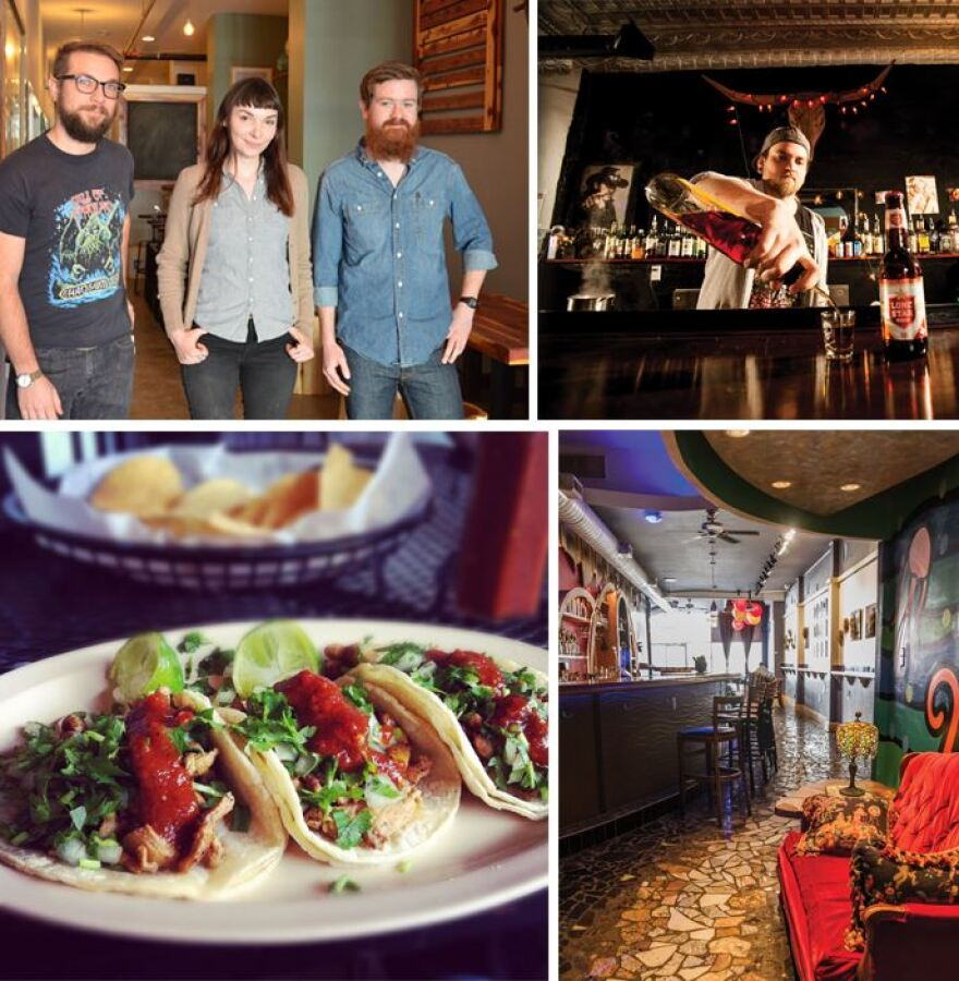 First row: The owners of Earthbound Beer, Los Punk; Second row: Tacos at La Vallesana, ArtBar