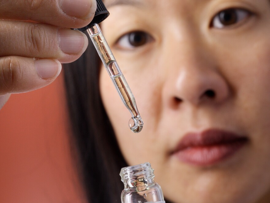Otolaryngologist Sandra Lin uses under-the-tongue drops to treat patients with allergies at Johns Hopkins in Baltimore.