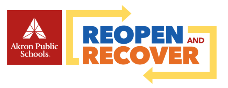 A photo of Akron's reopen and recover graphic.
