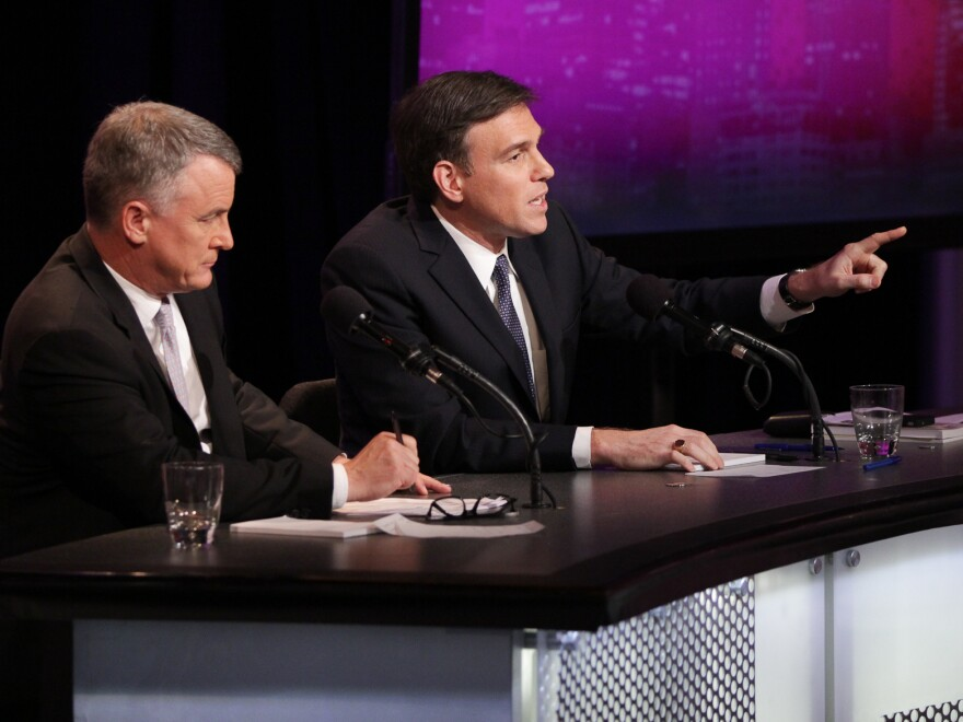 "<em>The Wall Street Journal</em>'s Bret Stephens (right) and Michael Doran of the Brookings Institution argue against the motion ""Flexing America's Muscles In The Middle East Will Make Things Worse."""