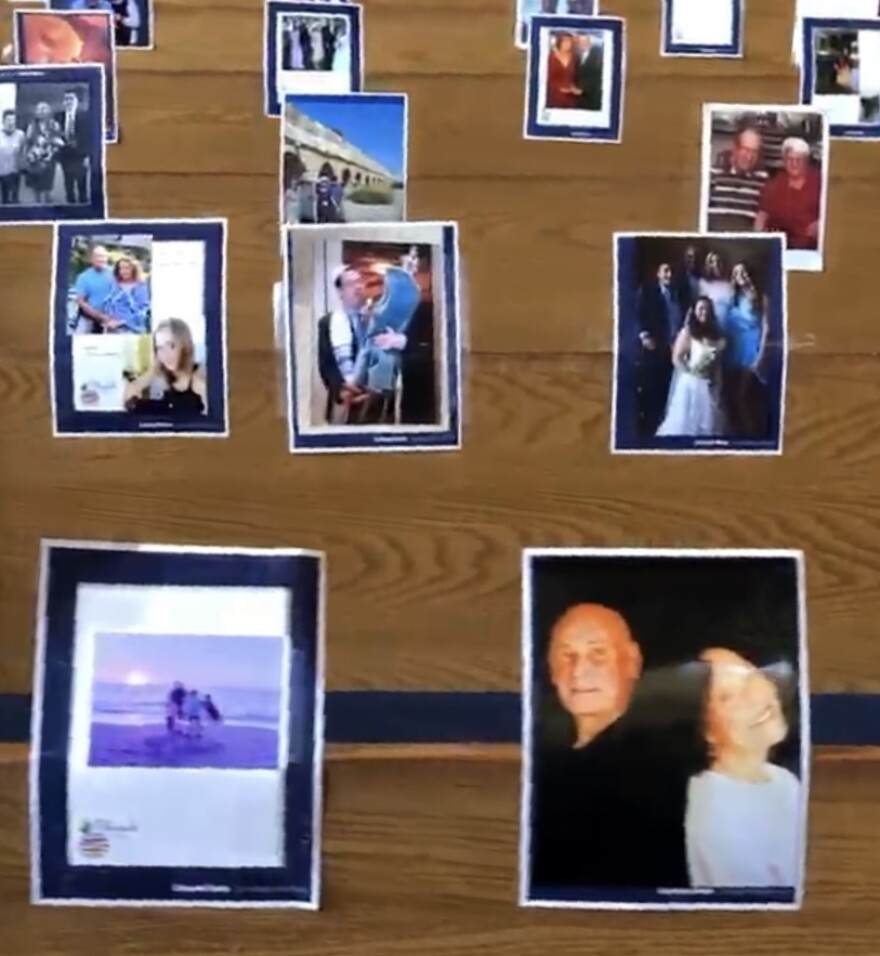 Family photos are taped to the pews inside the Kol Tikvah synagogue in Parkland. It's a way for congregants to feel present during the High Holy Days as the pandemic continues.
