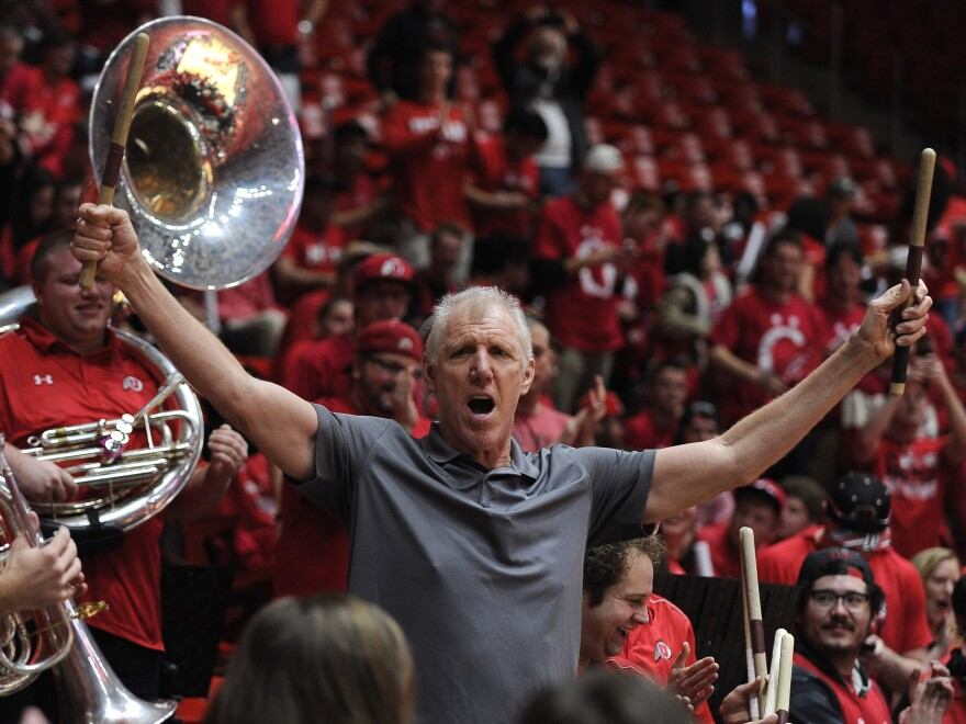 Former NBA player and now broadcaster, Bill Walton, plays the drums with the University of Utah band before the game between the Arizona Wildcats and the Utah Utes on February 27, 2016.