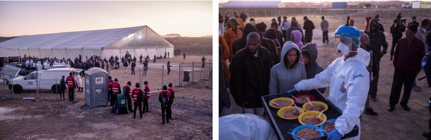 Left: Security guards stand at the entrance of a camp that houses homeless people in Standfontein, Cape Town, during the coronavirus lockdown. Right: Homeless people receive food at the camp. Many worry that overcrowding puts them at risk of catching the virus.