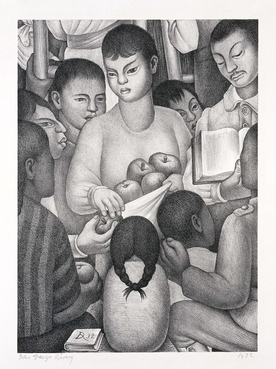 Diego Rivera, <em>The Fruits of Labor,</em> 1932, lithograph. Collection of the McNay Art Museum, Gift of the Friends of the McNay.