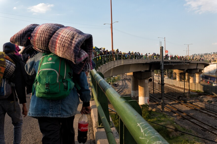 Members of the refugee caravan on their way to the station in Mexico where they will be boarding the freight train. Mexico City, Oct. 22, 2017.