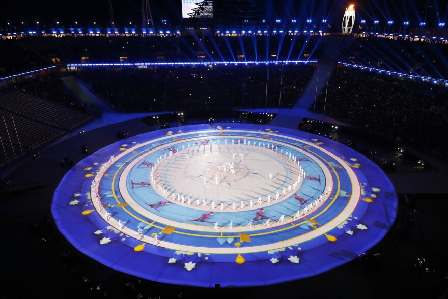 A view of the start of the closing ceremony at the Pyeongchang 2018 Winter Olympics.