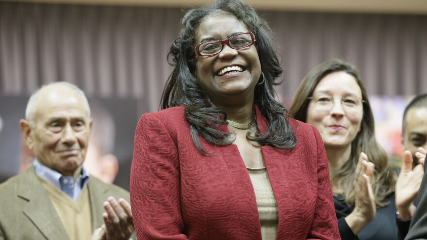 Michelle King was named superintendent for the Los Angeles Unified School District during a news conference in Los Angeles on Jan. 11, 2016.