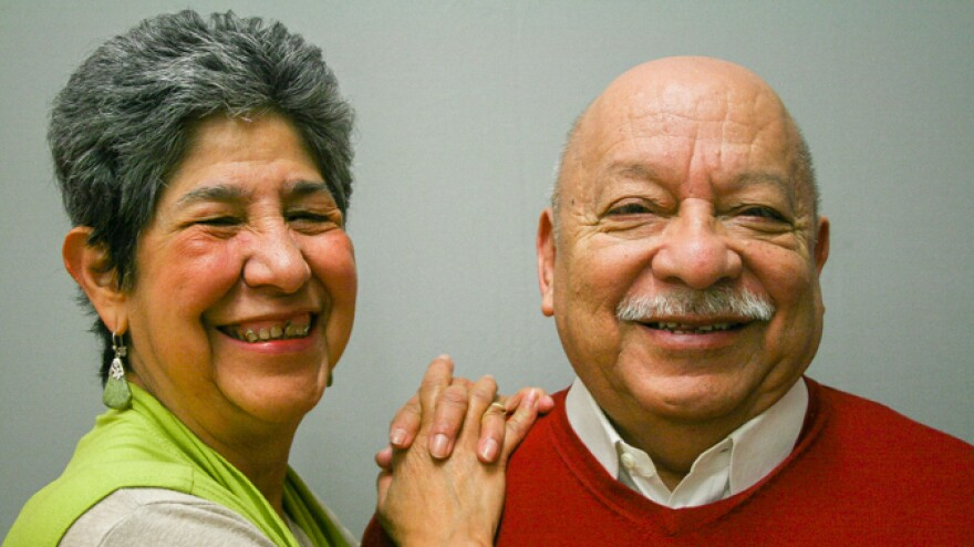 Tomás Ybarra-Frausto, right, told his friend Antonia Casteñeda the lessons he learned from his family about his Mexican American heritage during a 2012 StoryCorps interview in San Antonio.