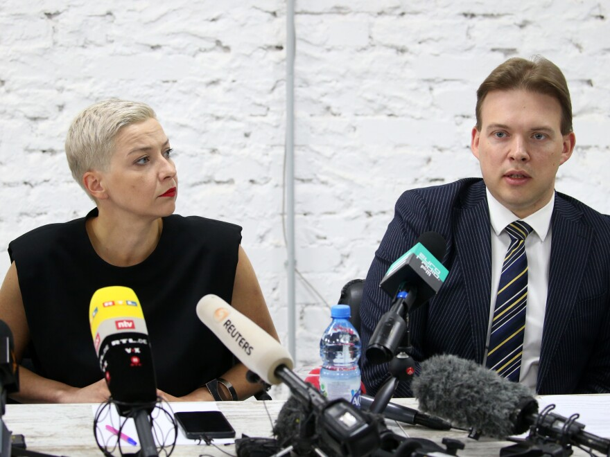 "Opposition figures Maxim Znak and Maria Kolesnikova, shown here at a press conference in Minsk last month, were both detained this week. Eyewitnesses saw masked men detain Znak Wednesday morning in Minsk. The country's powerful Investigative Committee said Kolesnikova and Znak were being held because of their ""calls urging action aimed at harming national security."""