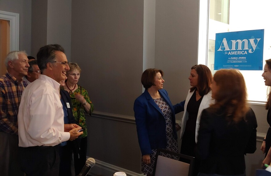 U.S. Sen. Amy Klobuchar meets with environmental leaders and activists in Tampa on March, 10.