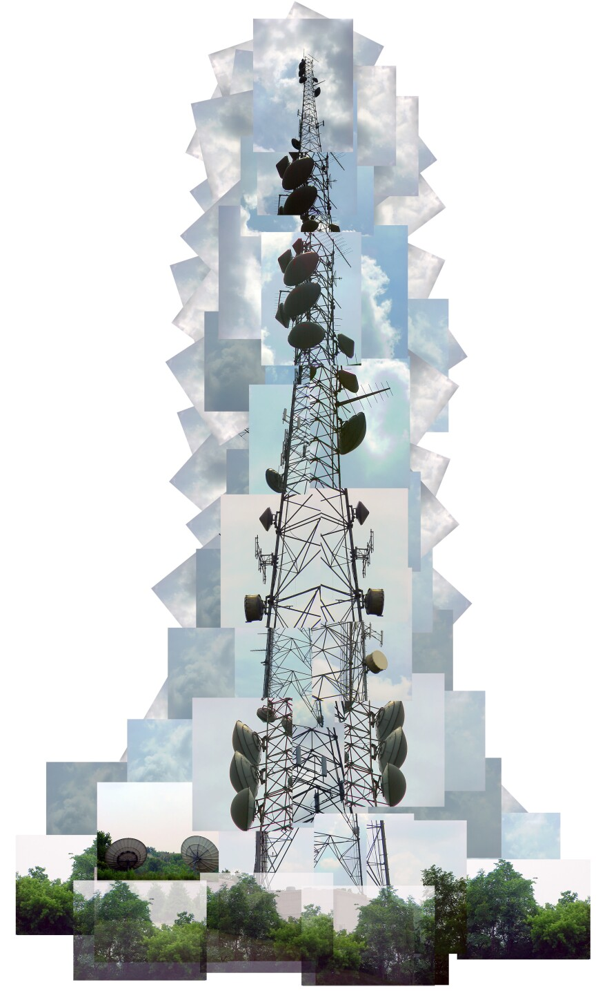 A collaged radio tower.