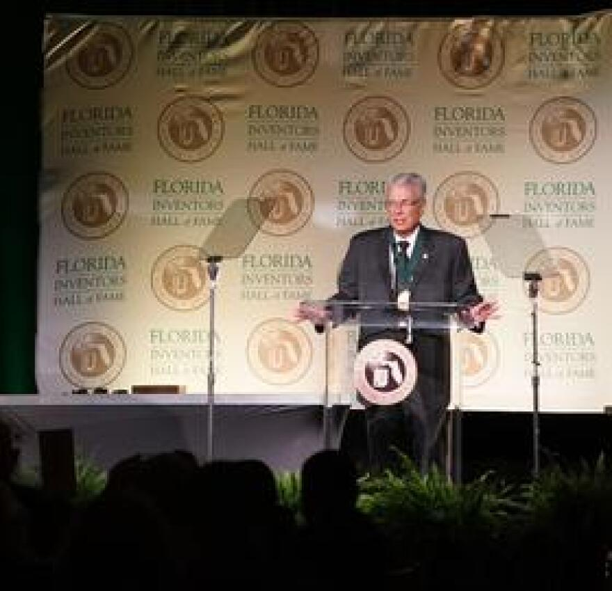 Phillip Furman speaks after being inducted into the Florida Inventors Hall of Fame in Tampa Sept. 7.