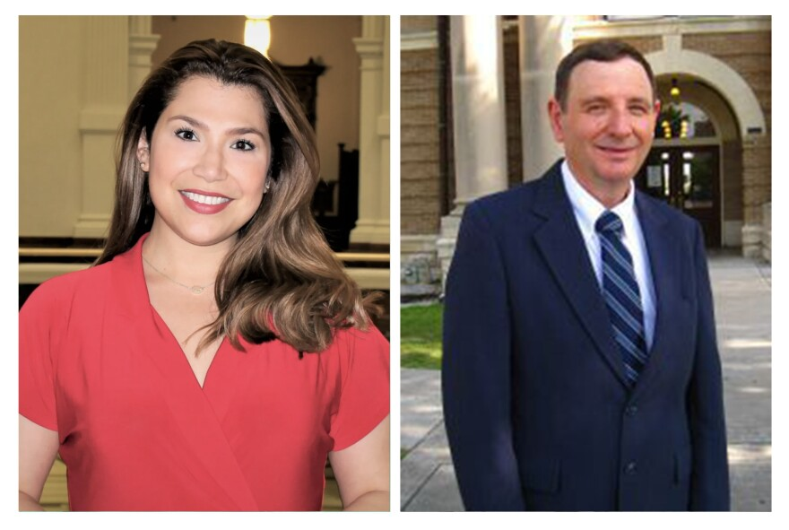 Jenny Garcia Sharon (left) and William Hayward (right) are competing in the Republican primary runoff election for Texas' 35th Congressional District.