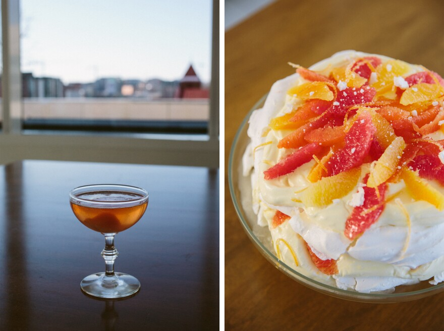 (Left) A glass of pink champagne with a scoop of grapefruit sorbet. (Right) Citrus pavlova cake.