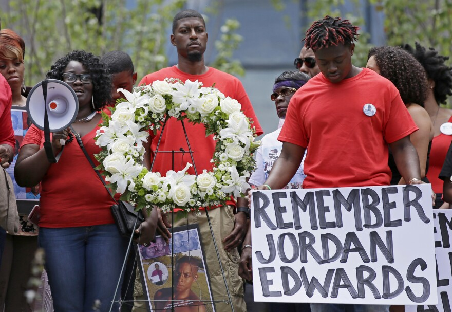 Charmaine Edwards (left) speaks to supporters during a protest outside a courthouse in Dallas in 2017. Jordan Edwards was a 15-year-old in Balch Springs, Texas, when he was shot and killed by police.