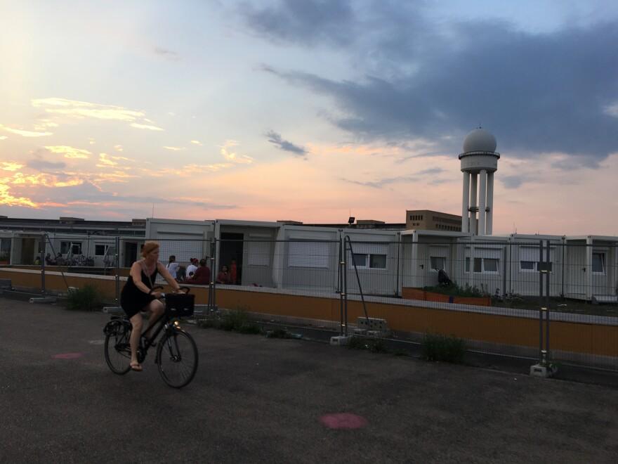 Modular homes for refugees, erected recently in one corner of Tempelhof Field.