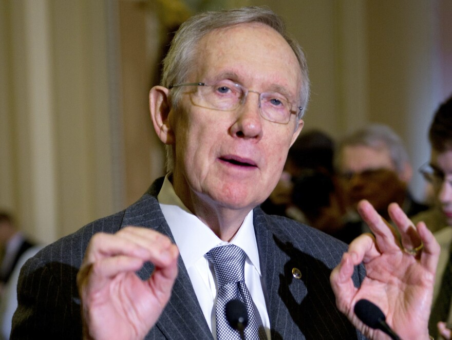 Senate Majority Leader Harry Reid, D-Nev., addresses reporters about ongoing discussions about the so-called fiscal cliff on Dec. 18.