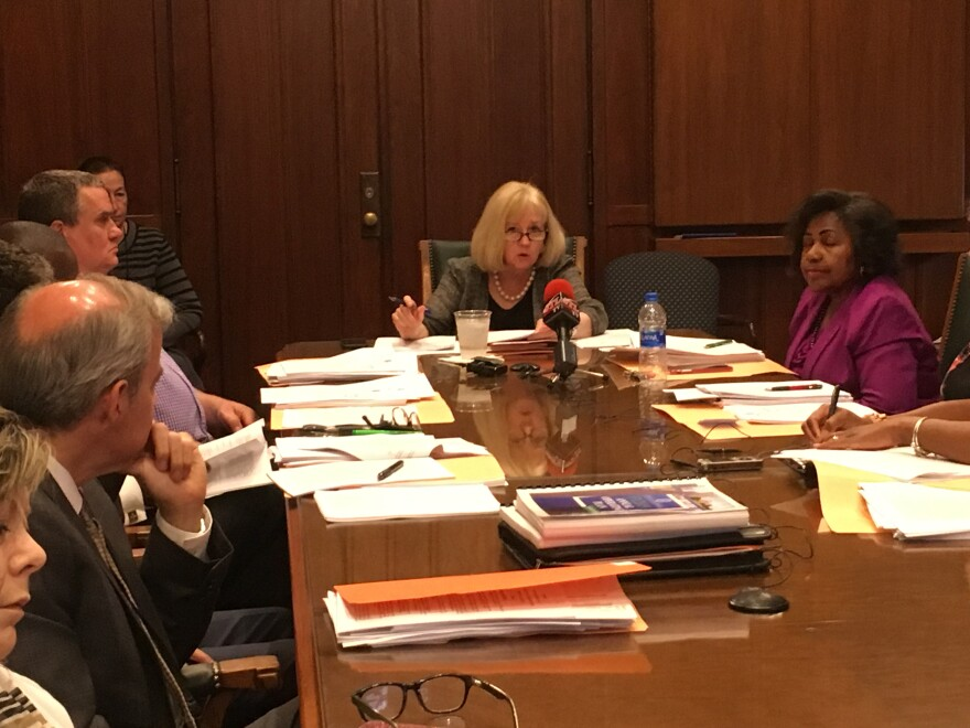 Mayor Lyda Krewson presides over the meeting of the Board of Estimate and Apportionment at City Hall, June 13, 2018.
