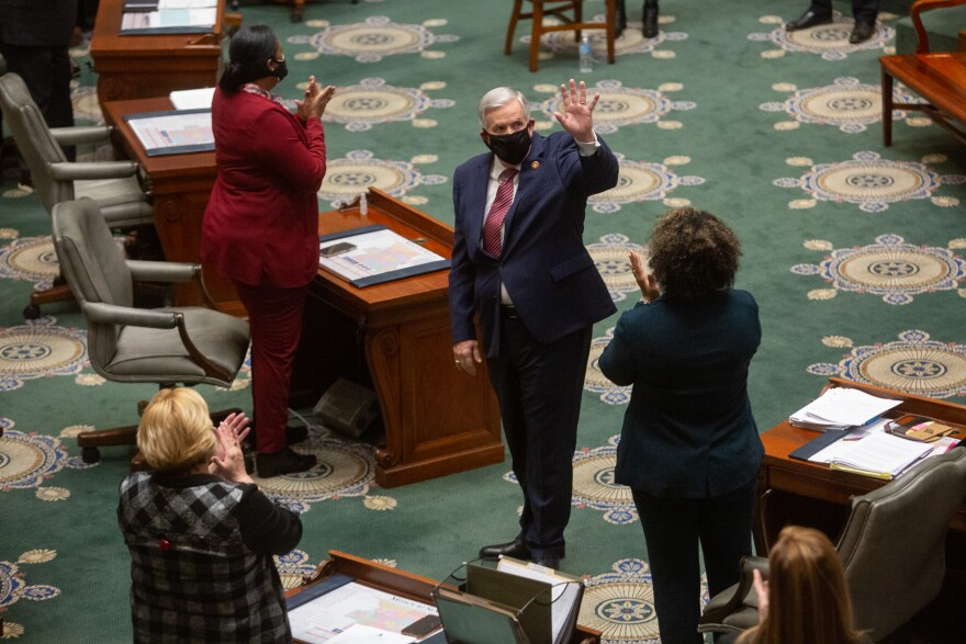Missouri Gov. Mike Parson enters the Senate Chambers before delivering his State of the State address on Wednesday, January 27, 2021, at the Missouri State Capitol in Jefferson City.