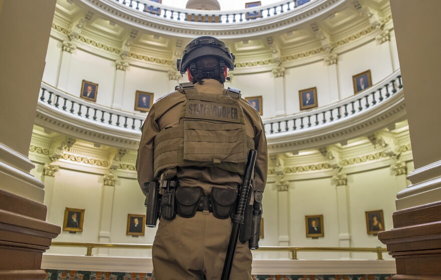 Jan 12, 2021; Austin, TX, USA; DPS state troopers protect the second floor of the Capitol on the first day of the 87th Legislature on Tuesday January 12, 2021. Credit: Ricardo B. Brazziell-USA TODAY NETWORK