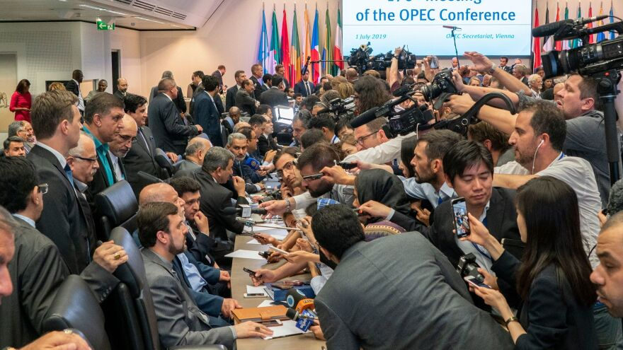Journalists interview oil ministers on the sidelines of the 176th meeting of the Organization of the Petroleum Exporting Countries conference on Monday in Vienna.