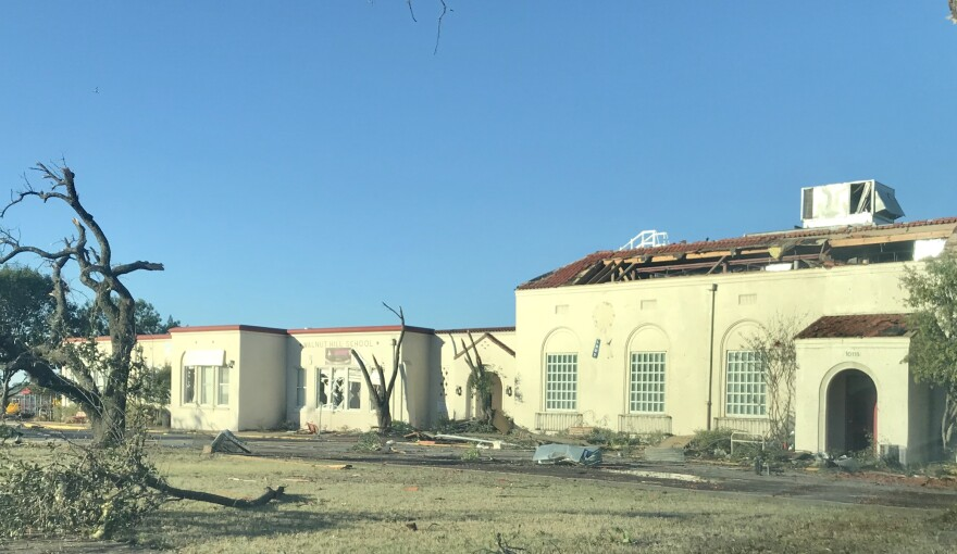 Damage to Walnut Hill Elementary in Dallas after Sunday's tornado.
