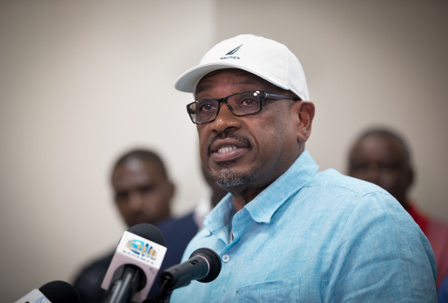 Bahamian Prime Minister Hubert Minnis addresses the media and the country at the National Emergency Management Agency about damage caused by Hurricane Dorian on Tuesday.